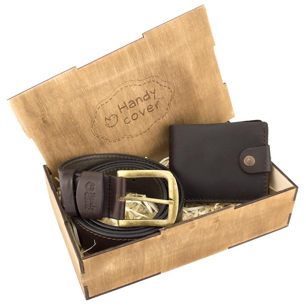 Мужской подарочный набор Handycover №40 коричневый (ремень и портмоне)