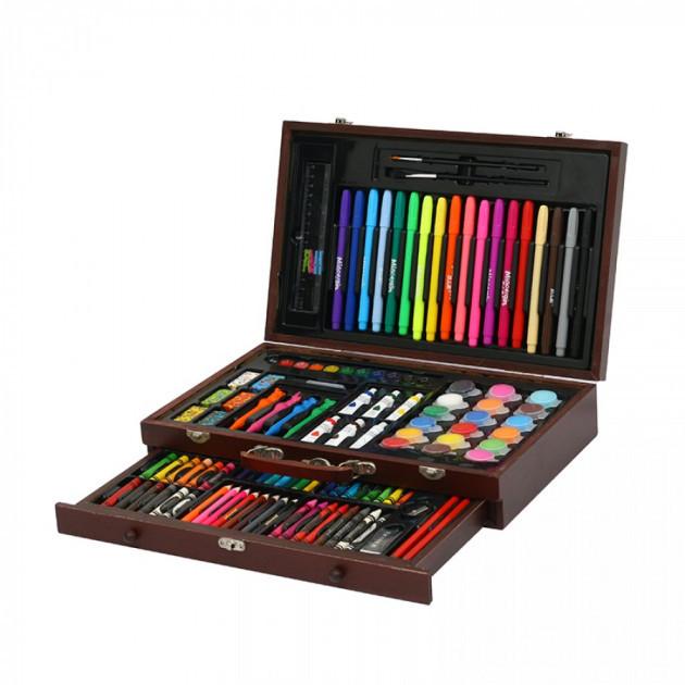 Набір для малювання та творчості в дерев'яному валізі 123 предмета