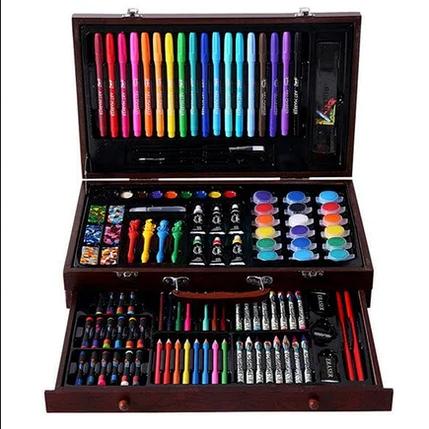 Набір для малювання 123 предмета в дерев'яному валізі дитячий Mega Art Set   Набір для творчості, фото 2