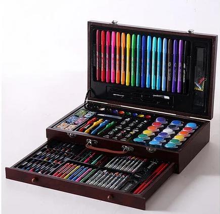 Набор для рисования 123 предмета в деревянном чемодане детский Mega Art Set   Набор для творчества, фото 2