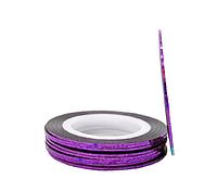 Лента-скотч для декора ногтей 1 мм фиолетовый голограмма, фото 1