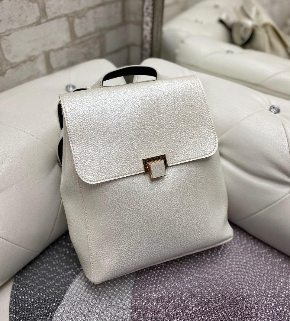 Женский молодежный рюкзак стильный модный сумка-рюкзак светлый кожзам