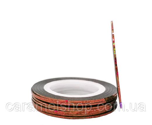 Лента-скотч для декора ногтей 1 мм медь голограмма