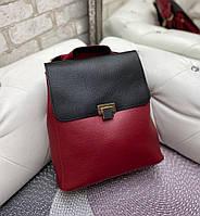Женский молодежный рюкзак стильный модный сумка-рюкзак черно-красный кожзам