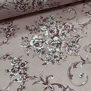 Ткань сатин с рисунком, розовые цветы с орнаментом на светло-розовом (ТУРЦИЯ шир. 2,4 м)