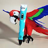 3D Ручка для детей 3Д ручка 2-го поколения с дисплеем LCD Pen 2 Голубая для детей Набор с Эко Пластиком, фото 10