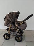 Коляска трансформер Adamex Young коричневый, коричневое плетение, фото 2