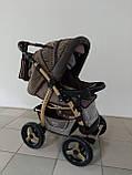 Коляска трансформер Adamex Young коричневый, коричневое плетение, фото 4