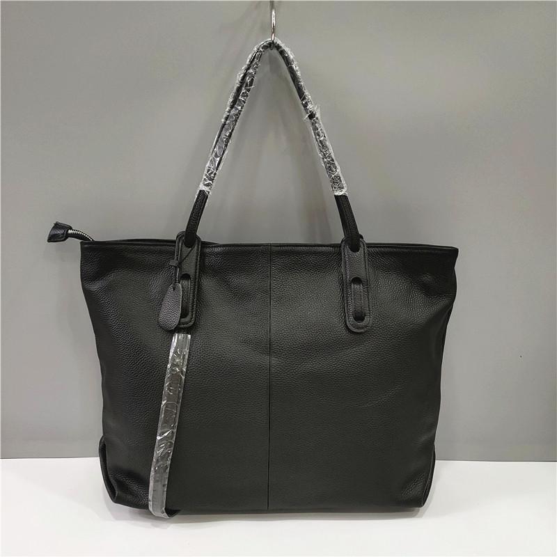 Вместительная сумка шоппер ручки на плечо / натуральная кожа (322) Черный