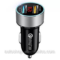 Автомобильное зарядное 2хUSB (12-24В, 5.4А) + Вольтметр / Быстрая зарядка QC 3.0 + подсветка - SILVER