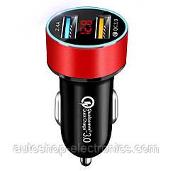 Автомобильное зарядное 2хUSB (12-24В, 5.4А) + Вольтметр / Быстрая зарядка QC 3.0 + подсветка - RED