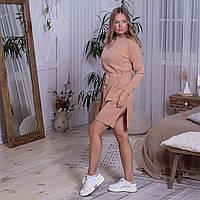 Тепле жіноче плаття з кишенями і капюшоном кольору пудра розмір L / XL
