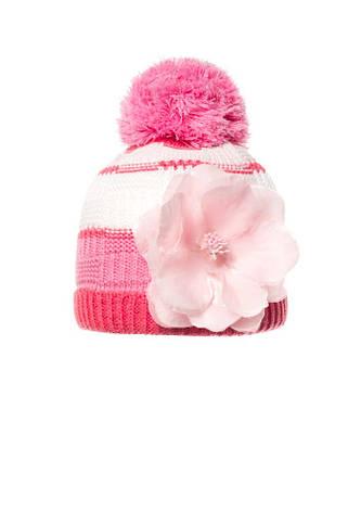 Детская красивая теплая вязаная шапочка с бумбоном, Польша., фото 2