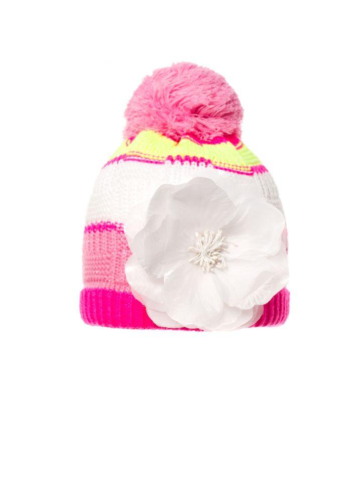Детская красивая вязаная шапочка с бумбоном и оригинальный цветком, Польша.
