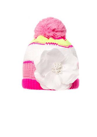 Детская красивая вязаная шапочка с бумбоном и оригинальный цветком, Польша., фото 2