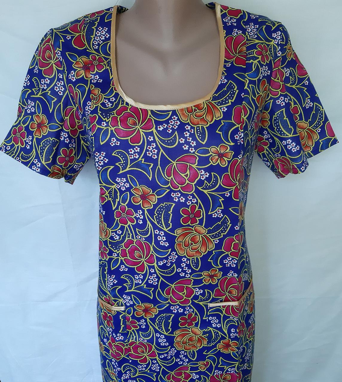 Платье с коротким рукавом 46 размер Пионы