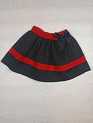 Черная школьная юбка с бантом для девочки. На рост 110 116 122 см .Украина