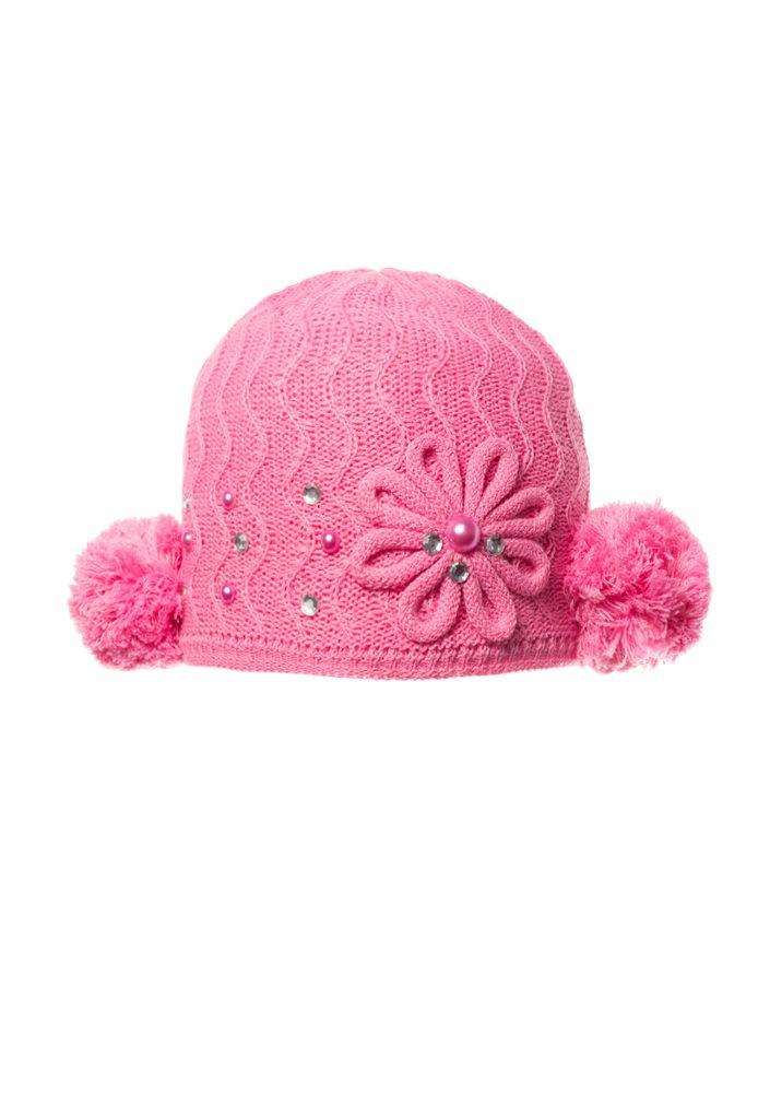 Детская красивая вязаная шапочка с бумбоном.