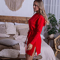 Тепле жіноче плаття з кишенями і капюшоном червоного кольору розмір L / XL