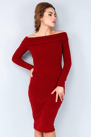 Платье хомут бордового цвета