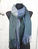 Теплый шарф Денвер 180*75 см серый + джинсовый, фото 1