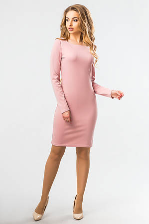 Пудровое прямое платье с длинным рукавом L