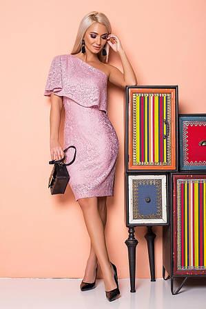 Пудровое платье с гипюром на 1 плечо L