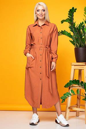 Терракотовое платье-рубашка из жатой ткани S