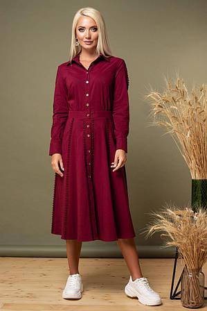 Бордовое платье с кружевом по рукавам и юбке L