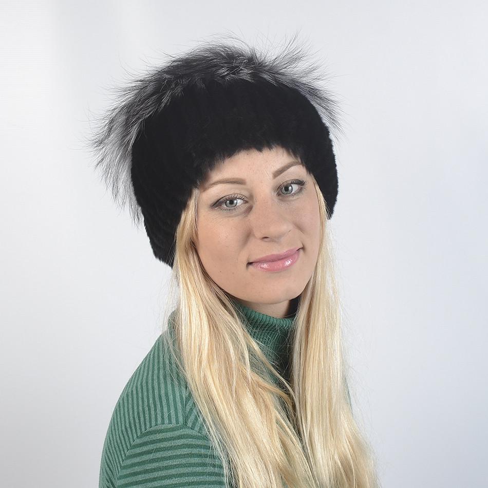 Жіноча шапка з хутра кролика -бірюзова 39863b272d4cd