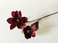 Искусственные цветы. Ветка магнолии марсаловая.