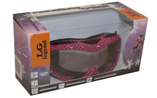 Очки горнолыжные детские LG7023 (акрил,пластик,PL,двойные линзы,антифог,цвет линз-оранж,опр.чер-роз)