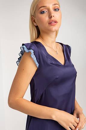 Синее шелковое платье с рукавами-крылышками и асимметричным воланом из шифона, фото 2