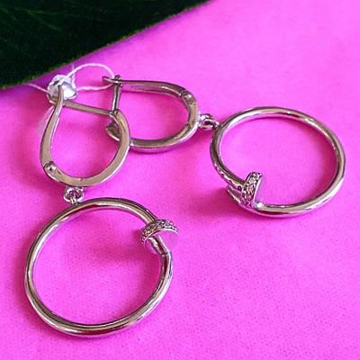 Срібні брендові сережки Д - Срібні сережки-ланцюжка - Сережки-висульки срібло