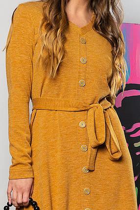 Горчичное платье с V-образным вырезом и пуговицами, фото 2