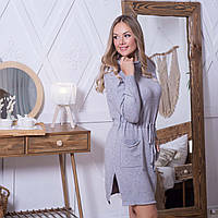 Тепле жіноче плаття з кишенями і капюшоном сірого кольору розмір L / XL