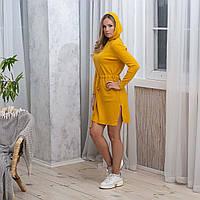 Тепле жіноче плаття з кишенями і капюшоном жовтого кольору розмір L / XL
