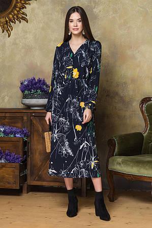 Платье с V-образным вырезом цветы на черном