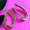Серебряные родированные серьги петли с фианитами - Серьги женские серебряные с камнями, фото 4
