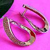 Серебряные родированные серьги петли с фианитами - Серьги женские серебряные с камнями, фото 3