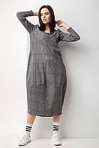 Трикотажное серое платье баллон в клетку с длинными рукавами и карманами, фото 2