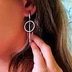 Серебряные серьги-подвески минимализм  - Серьги-висюльки серебряные родированные, фото 4