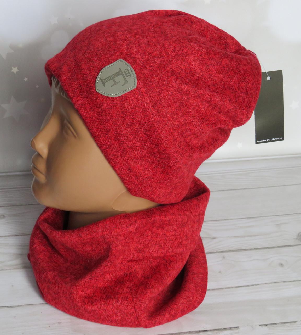 Детская трикотажная комплект шапка и баф, Nord ангора, красный