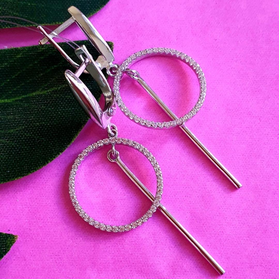 Серебряные серьги-подвески минимализм  - Серьги-висюльки серебряные родированные