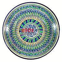 Ляган (узбекская тарелка) 33х6,5см для подачи плова керамический (ручная роспись) (вариант 6), фото 1
