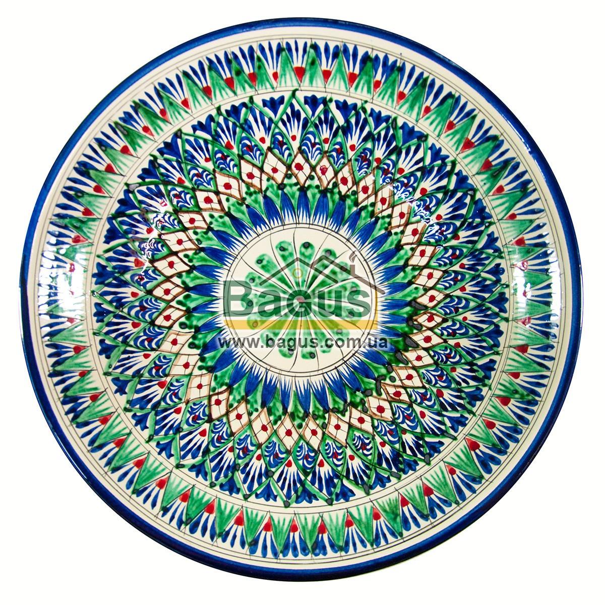 Ляган узбекский (тарелка узбекская) диаметр 32см глубокий (6,5см) ручная работа 3306-08