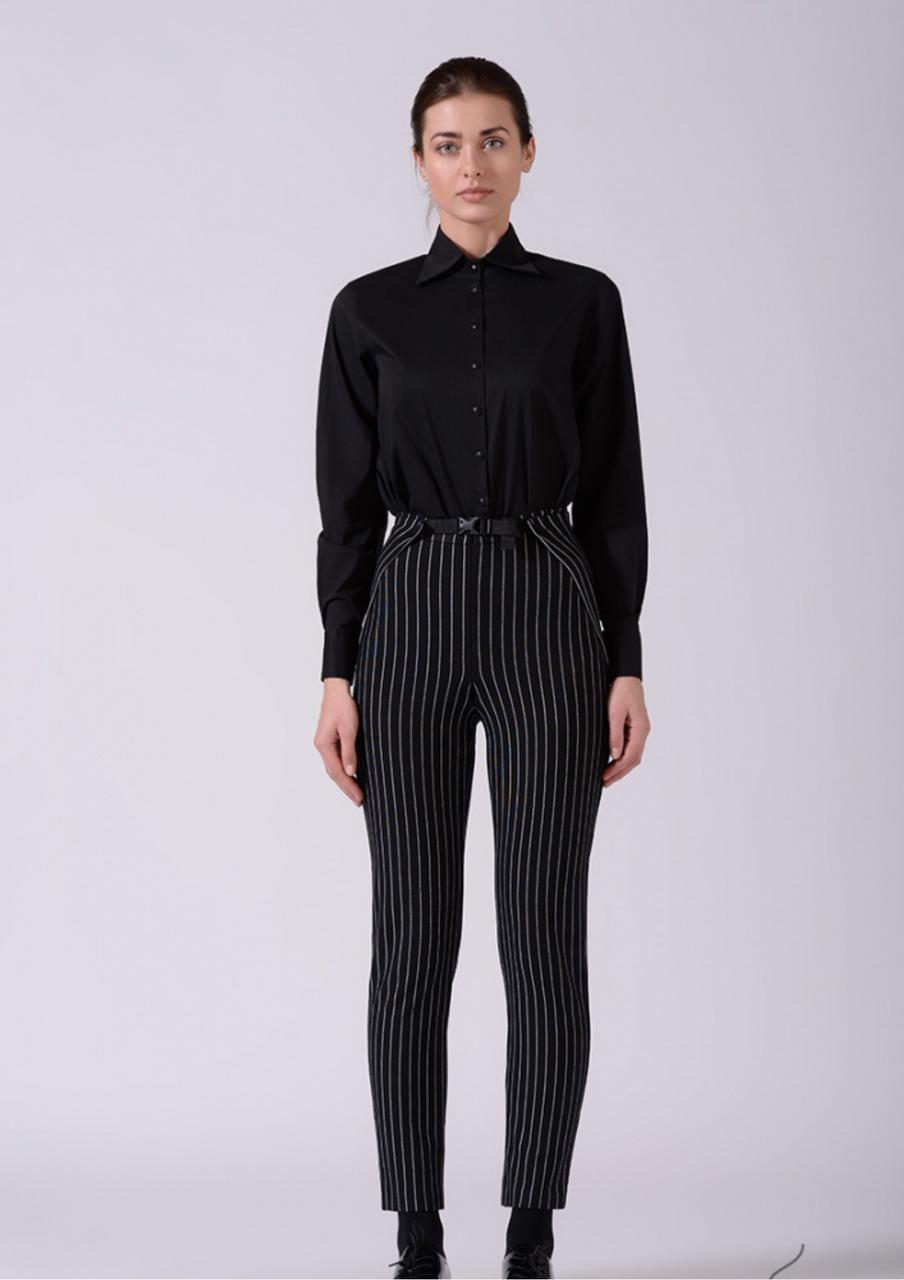 Женские брюки в черно белую полоску Lesya Фриер 2
