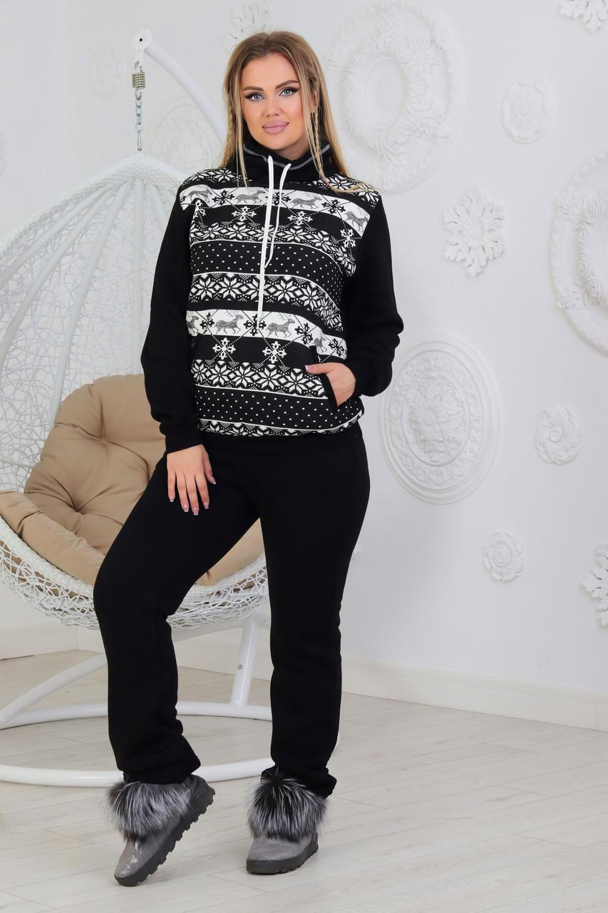 Модний жіночий теплий спортивний костюм з зимовим малюнком, з трикотажу. На флісі