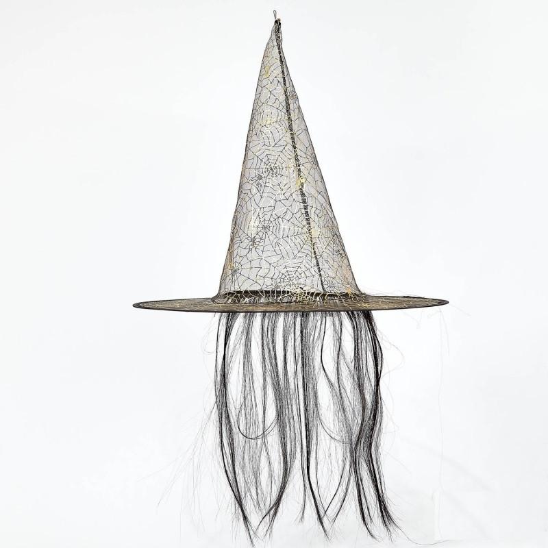 Колпак Ведьмы с золотой паутинкой и с волосами прозрачный
