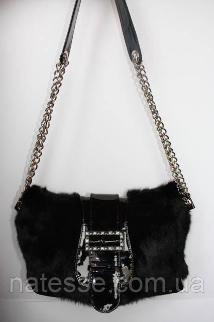 Мод 105. Сумка жіноча з хутра чорного кролика.